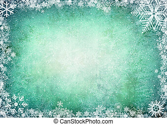 Winter background - Frame from snowflakes with space for...