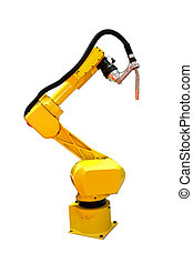 Robot welder - Yellow automatic robot welder for metal...