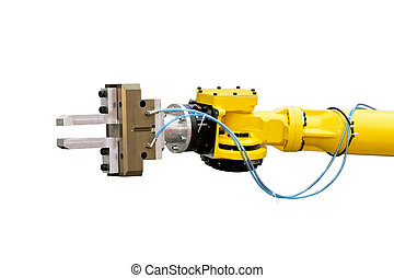 Robotic head detail - Close up shot of yellow robotic head...