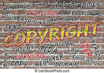 Copyright word cloud painted with grafitti on a brick wall