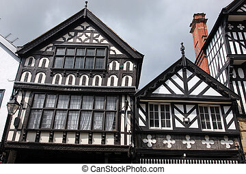 Black and white tudor building in Chester, England, UK