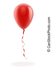 3d red balloon on white background