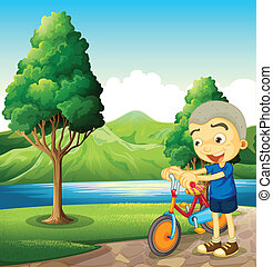 A cute little boy playing with his bike - Illustration of a...