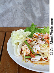 Som tum sea food,Thai papaya salad menu