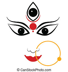 Goddess Durga - easy to edit vector illustration of Goddess...