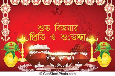 Happy Durga Puja Bijoya Dashami - easy to edit vector...