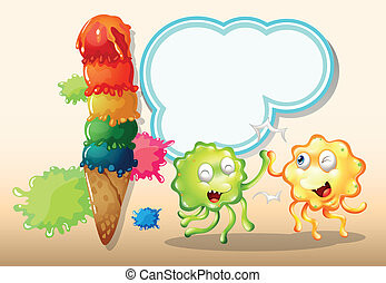 A green and an orange monster playing near the giant icecream