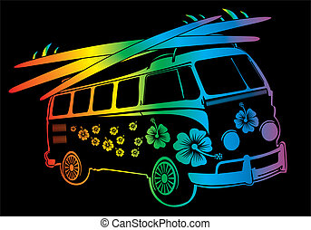 palm beach van vector art