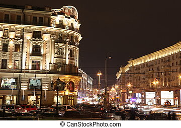 Night View of Hotel National and Tverskaya street, view from...
