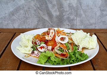 Som tum sea food,Thai papaya salad menu