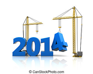 new year construction - abstract 3d illustration of 2014...