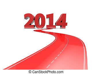road to 2014 year - abstract 3d illustration of red color...