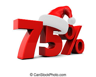 seventy-five percent discount - 3d illustration of christmas...