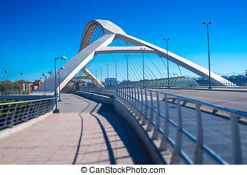 futuristic bridge in a European city
