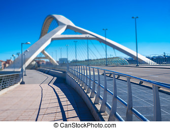 futuristic bridge in a European city