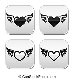 Heart with wings buttons set - Vector buttons set of heart...
