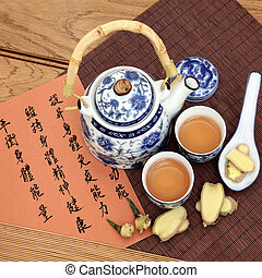 Herbal Tea - Ginger tea used in chinese herbal medicine with...