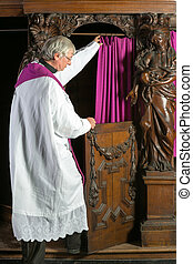 sacerdote, Entrar, Confesión, cabina