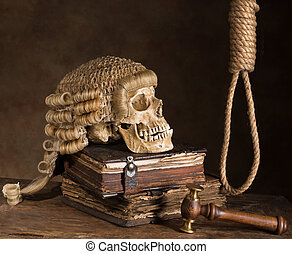 Noose and judges wig symbolizing death sentence