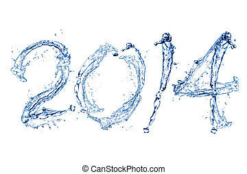 Happy New Year 2014 by water drop - Happy New Year 2014 by...