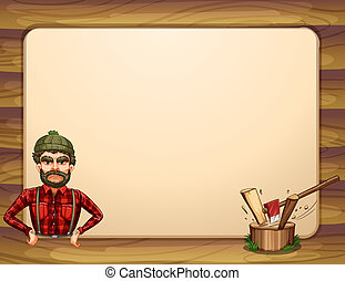 An empty wooden frame template with a lumberjack -...