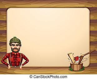 un, vacío, de madera, marco, plantilla,...