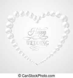 Pearl in heart shape on white background Vector illustration...
