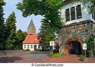 German village - Clock tower and church tower of a German...