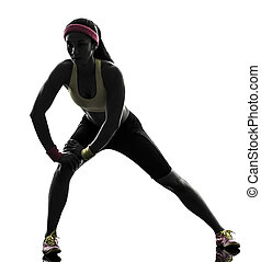 woman exercising fitness stretching warm up silhouette - one...