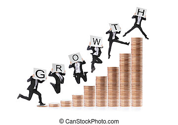 Growth - Business man happy jumping or running on the money...