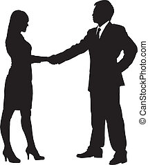Silhouettes of Business team with white background