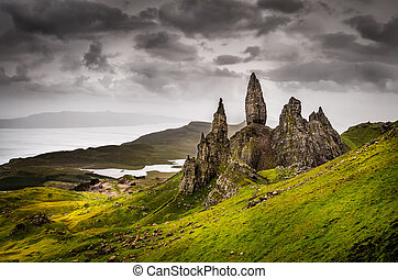 Landscape view of Old Man of Storr rock formation, Scotland,...