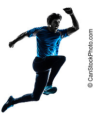 man runner sprinter jogger shouting silhouette - one...