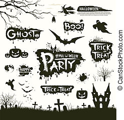 Happy Halloween collections design background, vector...
