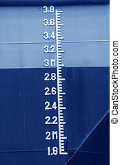 plimsoll mark on the ship - closeup of waterline marked on...