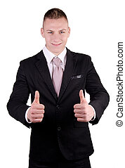 Businessman smiling with all right gesture in studio