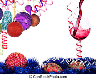 Red wine with christmas decoration - Red wine splashing with...
