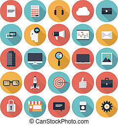 Business flat icons set