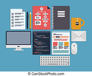 Website programming management - Flat design vector...