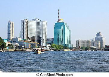 Bangkok city along chao praya river,Thailand