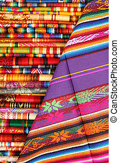 Colorful Linens in Otavalo - Colorful handmade linens for...