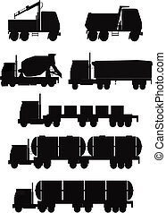 truck silhouettes  - variety of truck silhouettes in a set