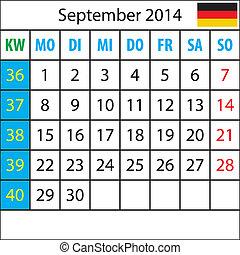 Mondkalender, September 2014, Deutsch, mit Zahl der Woche
