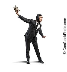Dream to fly - Concept of a businessman who dreams to flying...