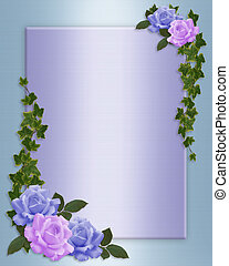 Wedding invitation Blue and Lavender - Blue, lavender roses...