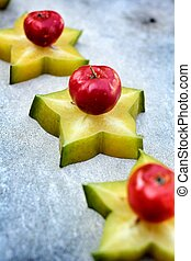 star fruit and cherry.