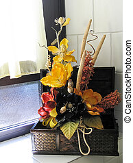 Floral Home Decoration - Colorful wooden flowers in a basket...