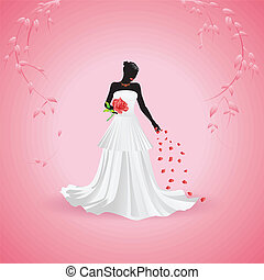 Bride silhouette - Silhouette of a bride holding big red...
