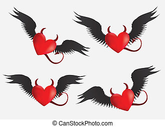 Devil hearts set - Set of red devil hearts with black wings...
