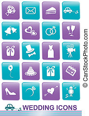 Wedding icons - Set of white icons for wedding cards and...